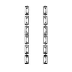 Atelier Swarovski Silver Shade Fluid Long Skinny Drop Earrings