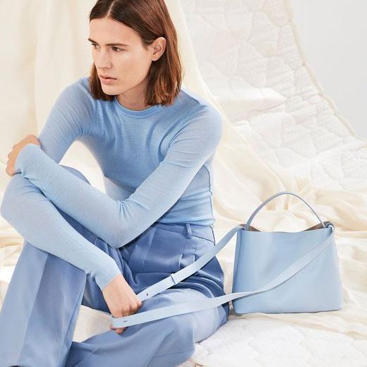 Aesther Ekme Mini Sac Sky Blue Tote Bag on model