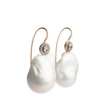 Dolly Boucoyannis Golden Diamond Aqua Marine and Pearl Earrings DBE146