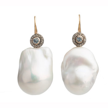 Dolly Boucoyannis Golden Diamond Aqua Marine and Pearl Earrings DBE146