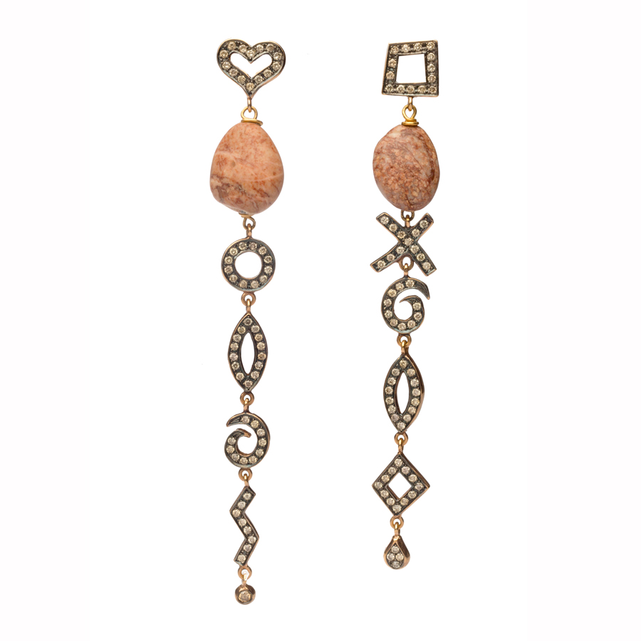 Dolly Boucoyannis Golden Pebble and Diamond Earrings DBE82