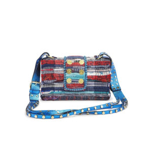 Kooreloo Fabric & Leather Shoulder Bag -NY Soho Multi Studs Metallic Petrol