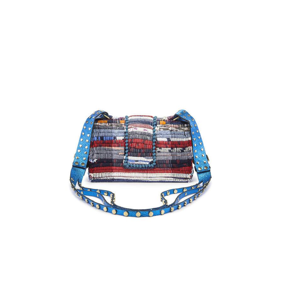 Kooreloo Fabric & Leather Shoulder Bag -NY Soho Multi Studs Metallic Petrol