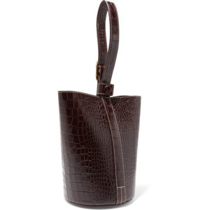 Trademark Small Crock Effect Leather Bucket Bag