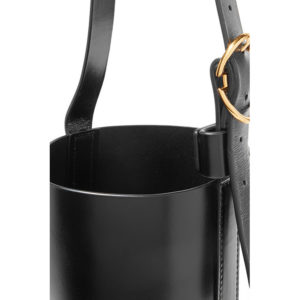 Trademark Small Crock Effect Leather Bucket Bag Black