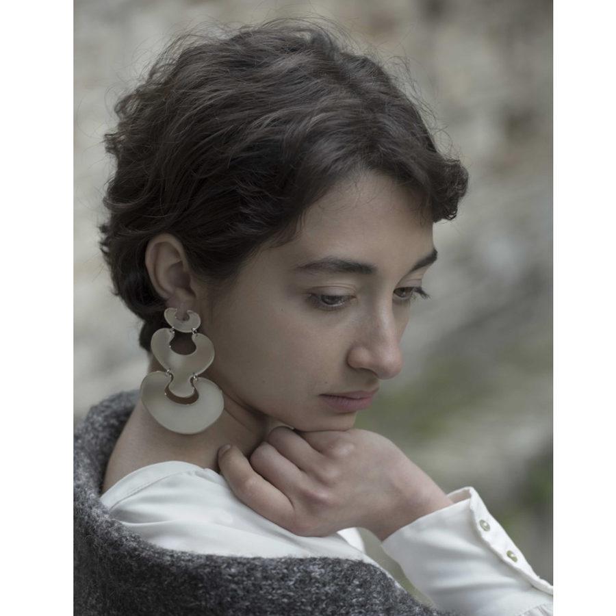 MYSTiS by Sofia Zarari Genesis Eve and Embryo Drop Statement Earrings on model