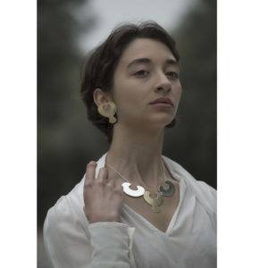 MYSTiS by Sofia Zarari Eve Stud and Clip Earrings on model