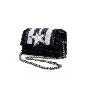 Kooreloo Disco 'Carousel' Black Leather Shoulder Bag