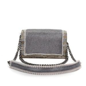 Kooreloo Disco Silver Leather Shoulder Bag