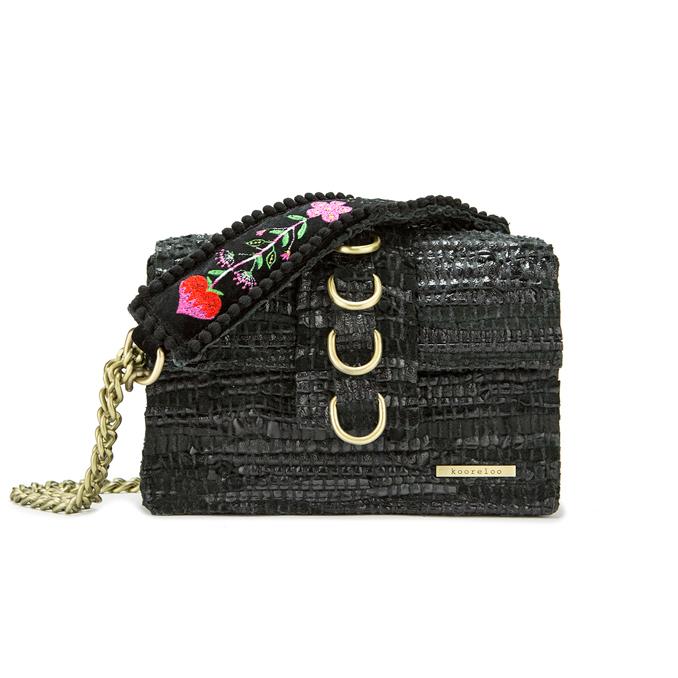 Kooreloo RockStar Black Leather Shoulder Bag