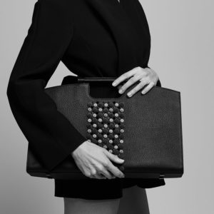 Marina Rafael Black Bureau Bag on model
