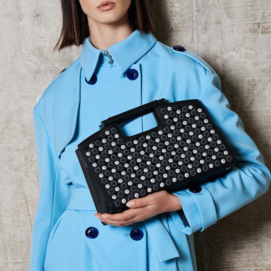 Marina Raphael L' Avenue Black Bag on model
