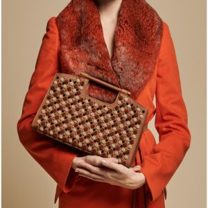 Marina Raphael L' Avenue Camel Bag on model