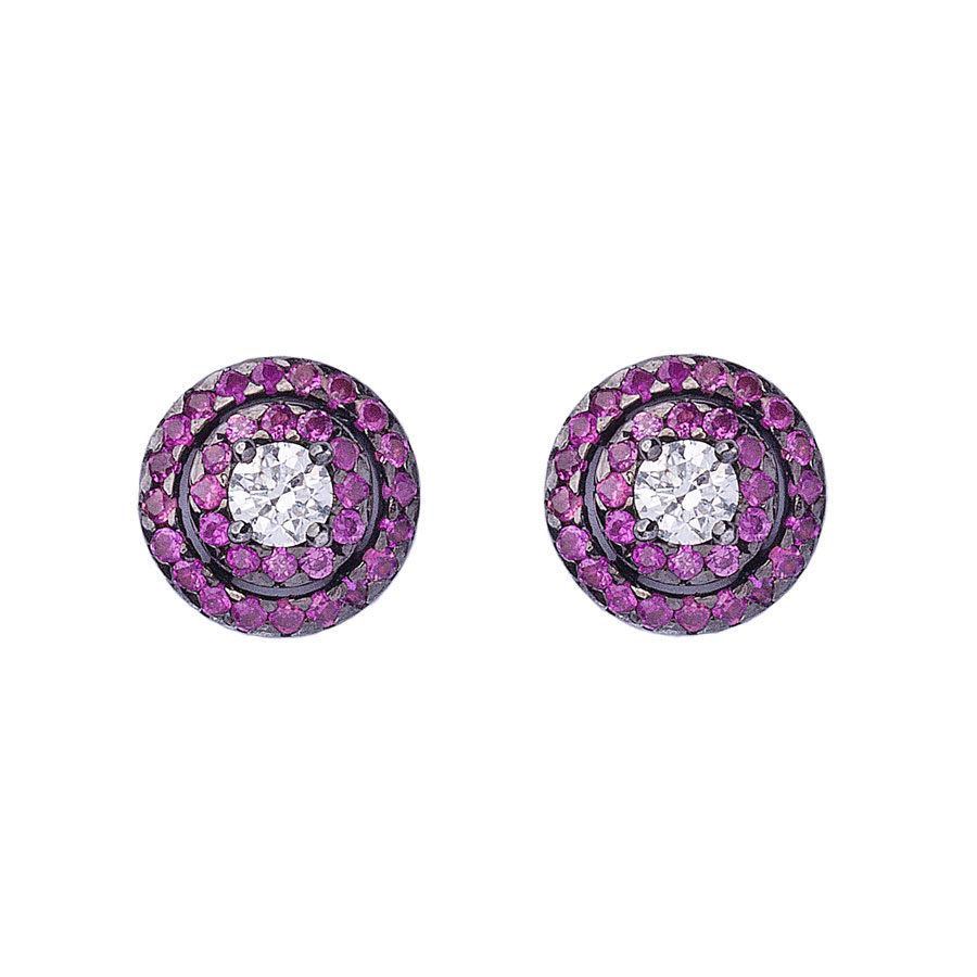 Anais Kostinou Orbit Chroma Pink Link Earrings