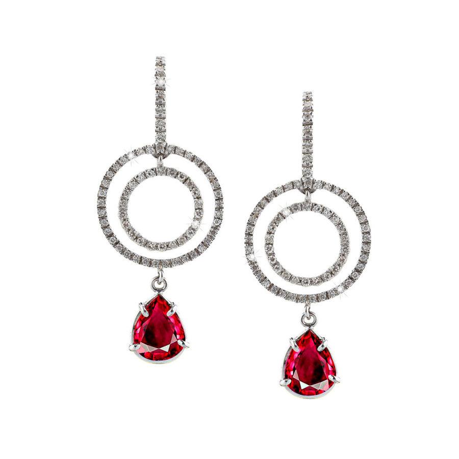 Anais Kostinou Sui Generis Ruby Round Earrings