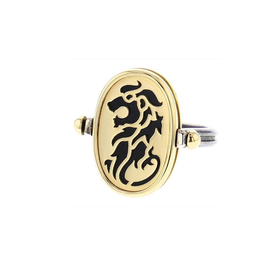 Elie Top 4 Elements Terre Yellow Gold Onyx Ring