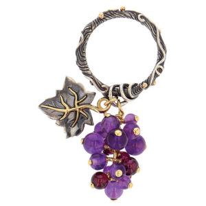 Elie Top 4 Saisons Automne Raisin Yellow Gold Amethyste Ring