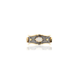 Elie Top Yellow Gold Opal Bandeau Ring