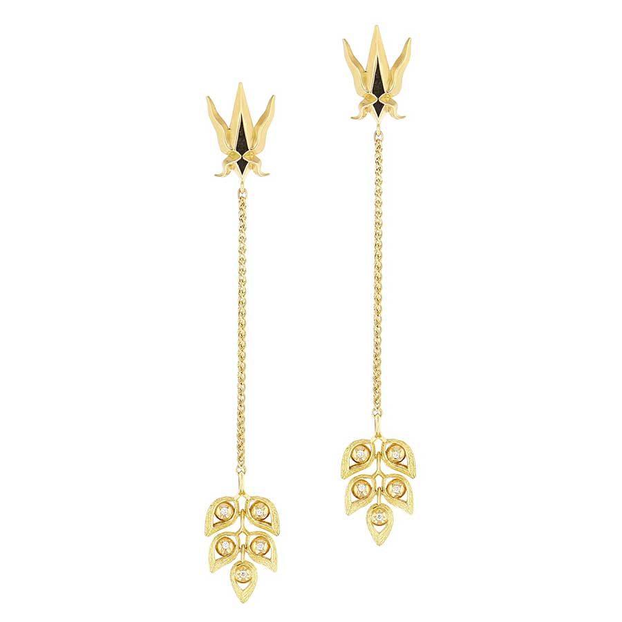 Elie Top Ete Bleu Yellow Gold and Diamonds Long Earrings