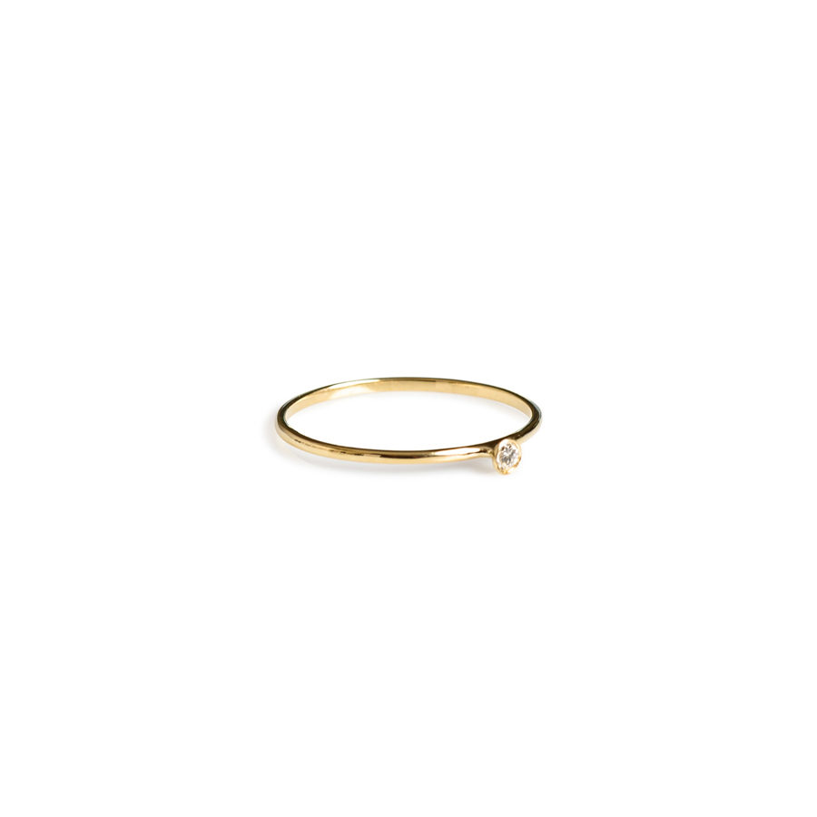Christiana Kafa Small Thin White Diamond Ring