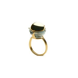 Elie Top Yellow Gold Onyx Diamonds Sphere Ring