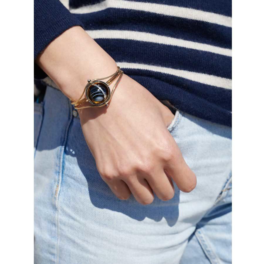Elie Top Yellow Gold Onyx Diamonds Sphere Bracelet on model