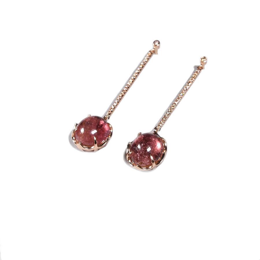Zacharias Galanis Pink Oval Tourmaline Earrings