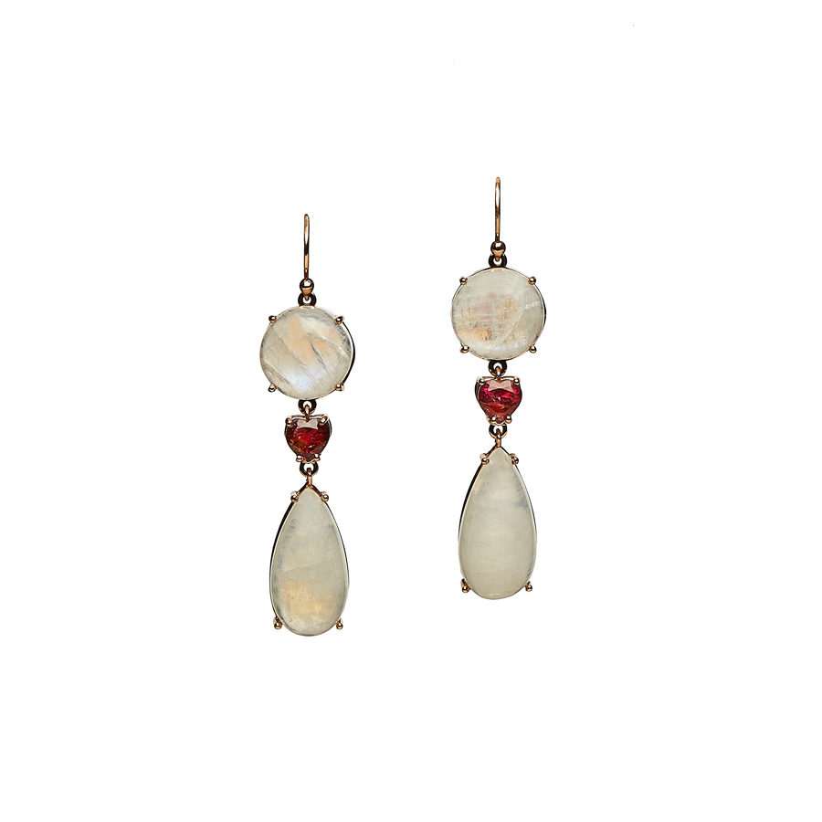 Christina Alexiou Moonstone and Ruby Hearts Earrings