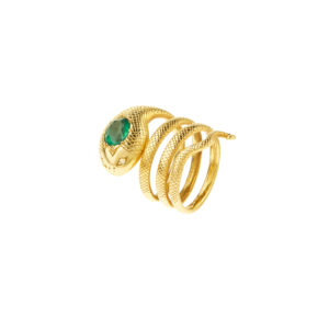 Christina Alexiou Gold Emerald and Diamonds Snake Ring