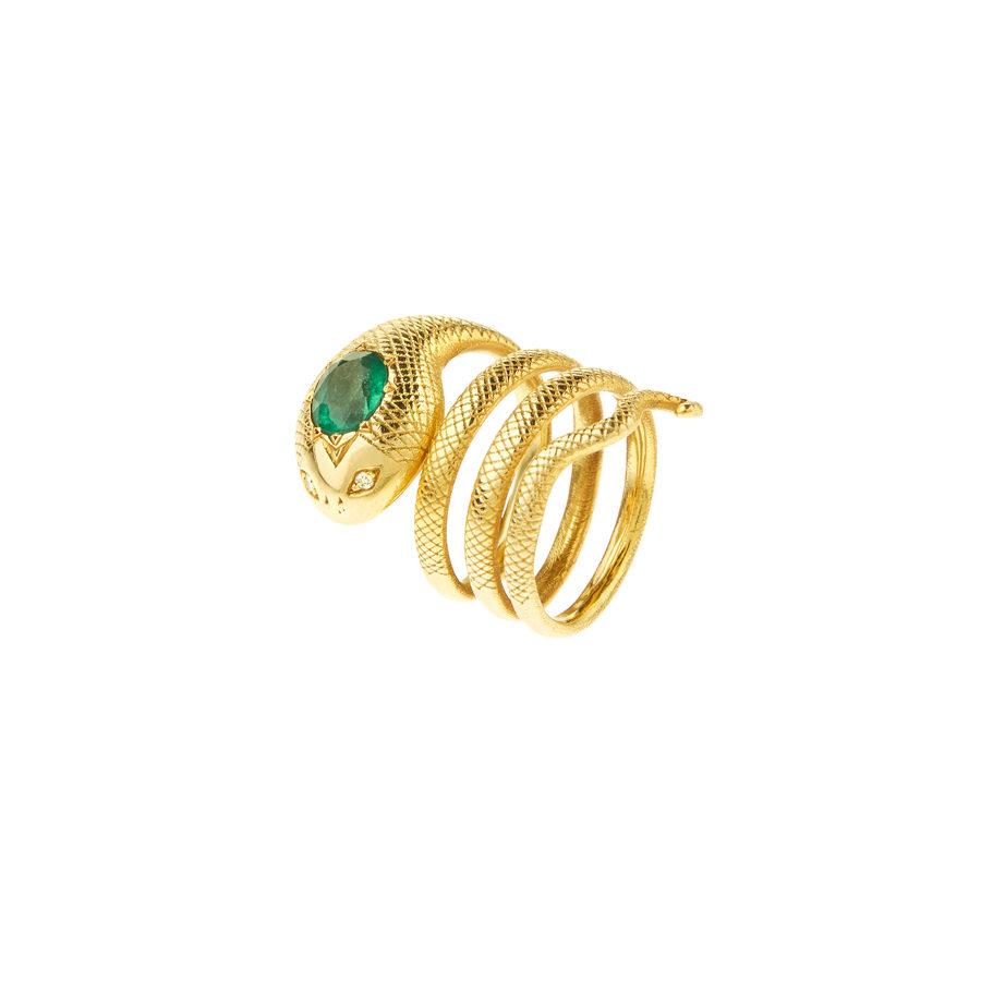 Christina Alexiou Gold Emerald and Diamonds Snake Ring