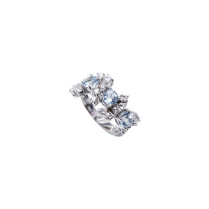 Gallery Diamond White Gold Diamonds and Aquamarines Ring