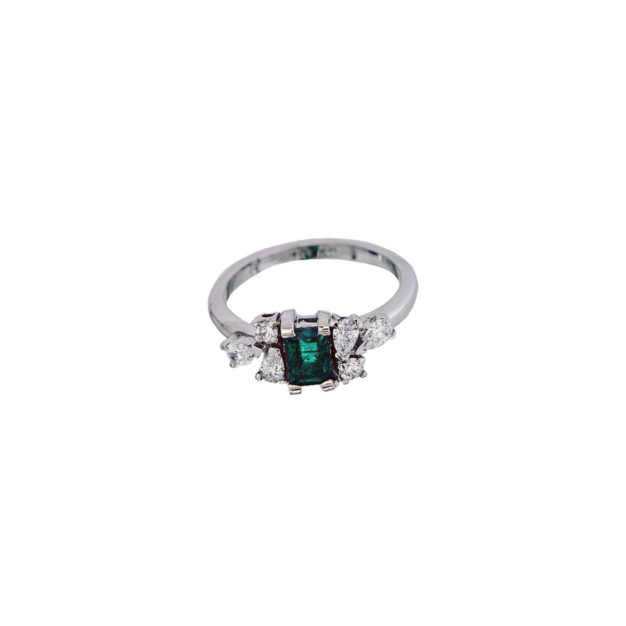 Gallery Diamond White Gold Diamonds and Emerald Ring