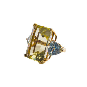 Three Semi-Precious Stones Gold Ring DBR45