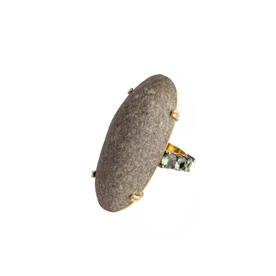 Dolly Boucoyannis Green Sapphires Pebble Ring