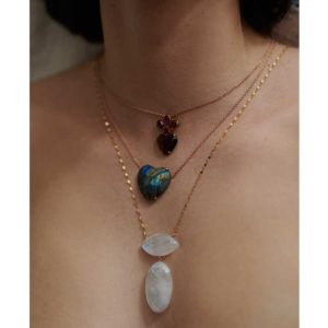 Christina Alexiou Labradorite Heart Necklace and Lito Moonstone Necklace