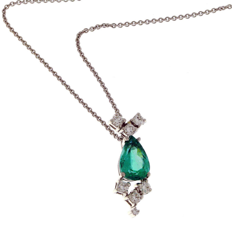 Gallery Diamond White Gold Emerald Pear Shaped and Diamonds Necklace