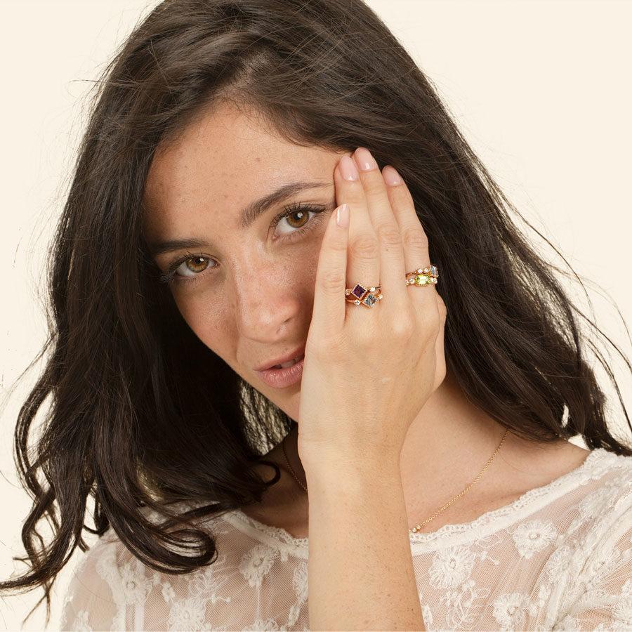 Maison Artaner Antoinette Blue Topaze Ring on model