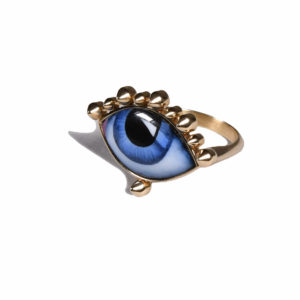 Lito Lito Tu es Partout Blue Enamelled Eye Ring
