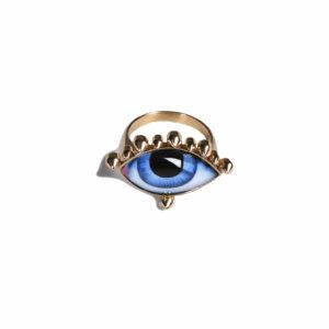 Lito Tu es Partout Blue Enamelled Eye Ring