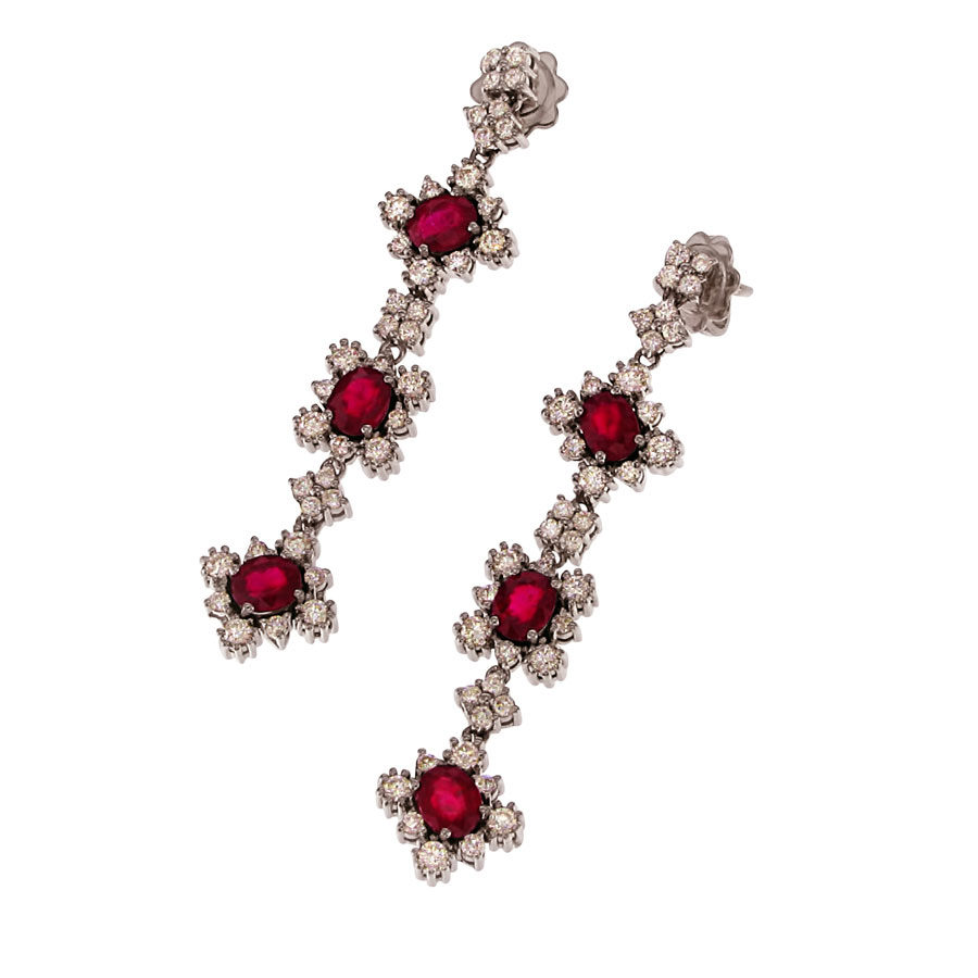 Gallery Diamond White Gold Diamonds and Rubies Earrings