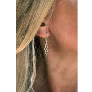 OONA Baguette Drop Earrings on model