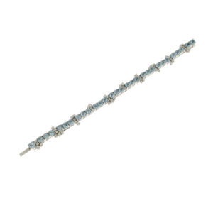 Gallery Diamond White Gold Diamonds and Aquamarines Bracelet