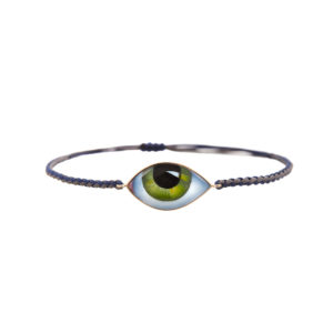 Lito Tu es partout Big Green Enamelled Eye Bracelet