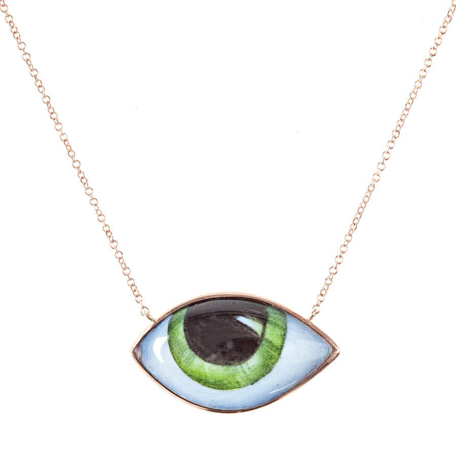 Lito Tu es partout Green Eye Pink Gold Necklace