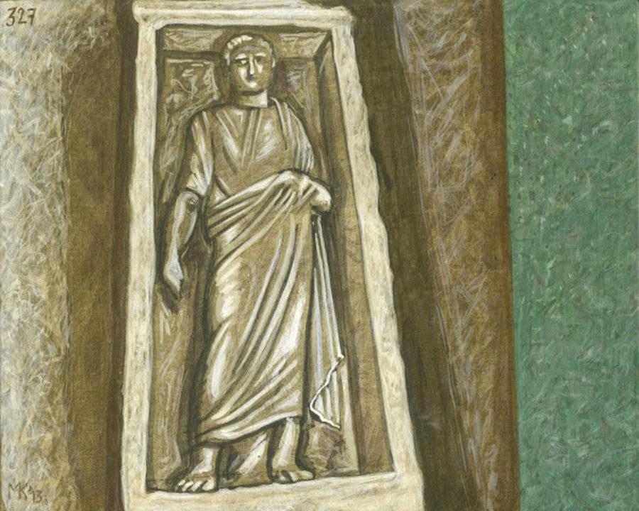 Markos Kampanis, Ακρυλικό σε ξύλο. Acrylic on wood, 2012-13 Ancient Ruins 327