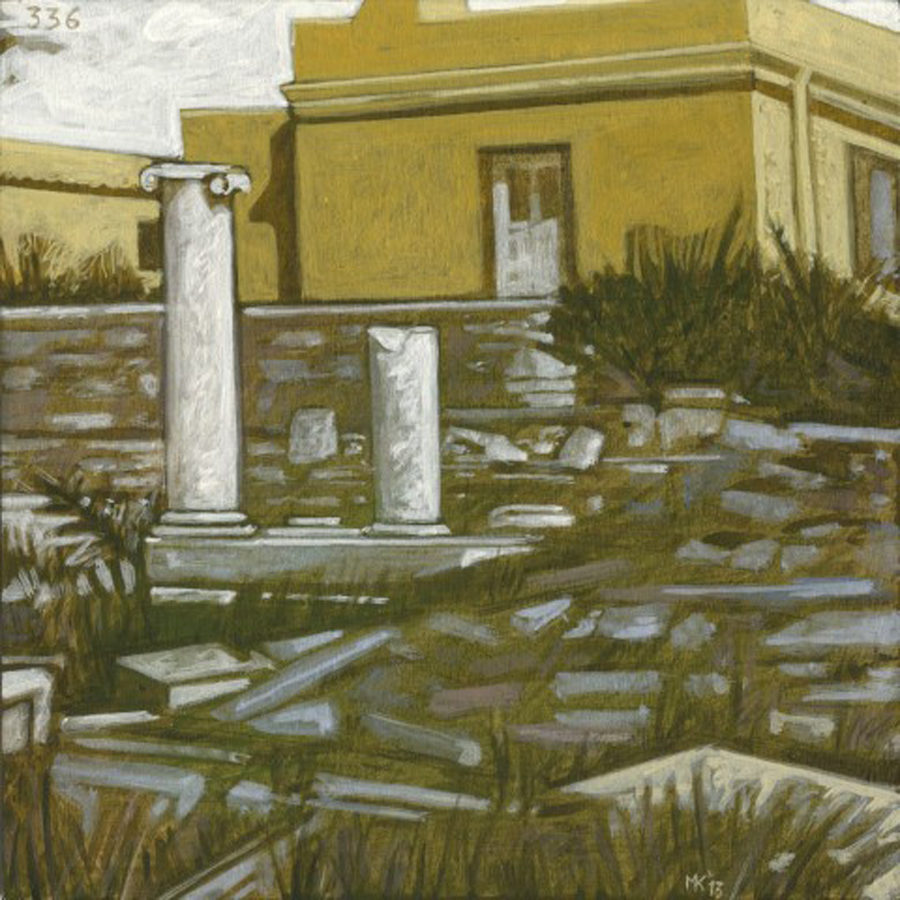 Markos Kampanis, Ακρυλικό σε ξύλο. Acrylic on wood, 2012-13 Ancient Ruins 336
