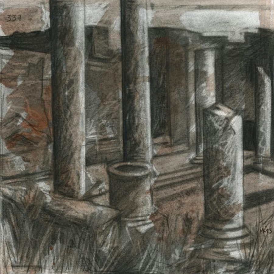 Markos Kampanis, Ακρυλικό και κάρβουνο σε χαρτί. Acrylic and charcoal on paper, 2012-13 Ancient Ruins 337
