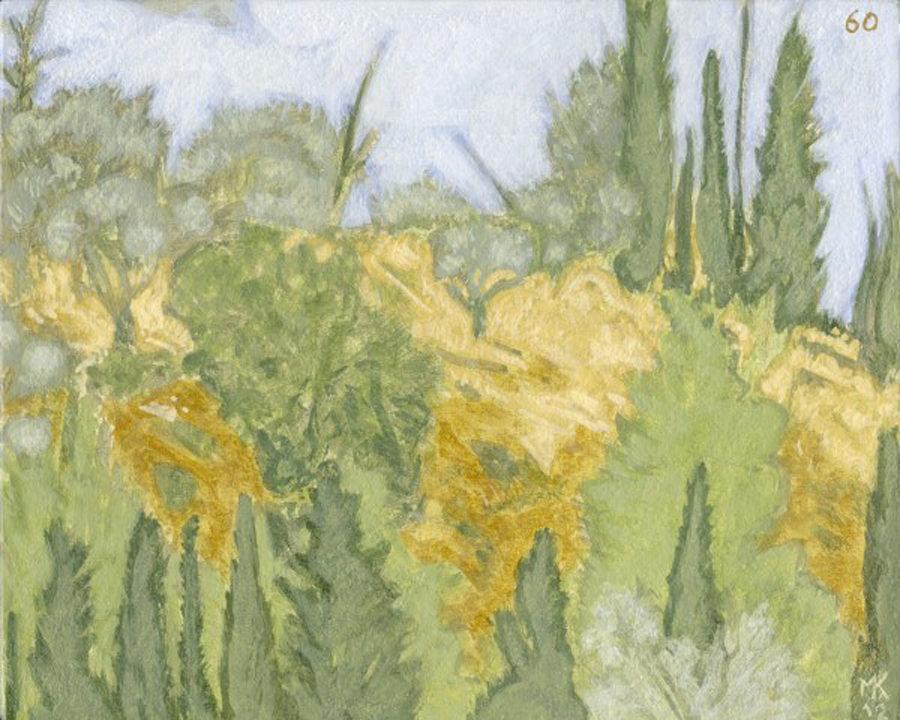 Markos Kampanis, Ακρυλικό σε ψευδοσοβά. Acrylic on imitation plaster, 2012-13 Trees 60