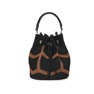 Marina Raphael ESTELLA Black Crochet Suede Bag