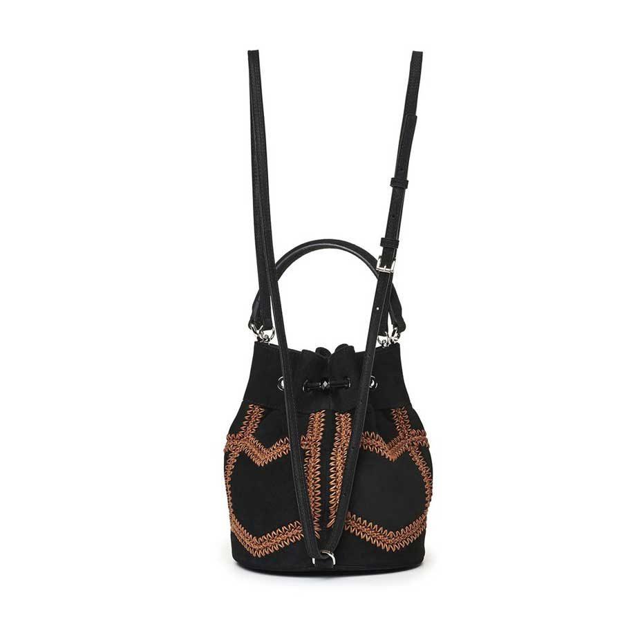Marina Raphael ESTELLA Black Crochet Suede Bag